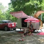 Allen and his camper get all set up in our first big road trip.