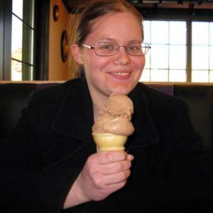 Caren with her chocolate custard single scoop cone.