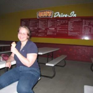 Caren, her cone and the Drive-in menu.