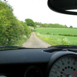 Heidi test drives a MINI Cooper D through the English countryside.