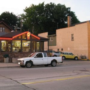 Fred's at night.